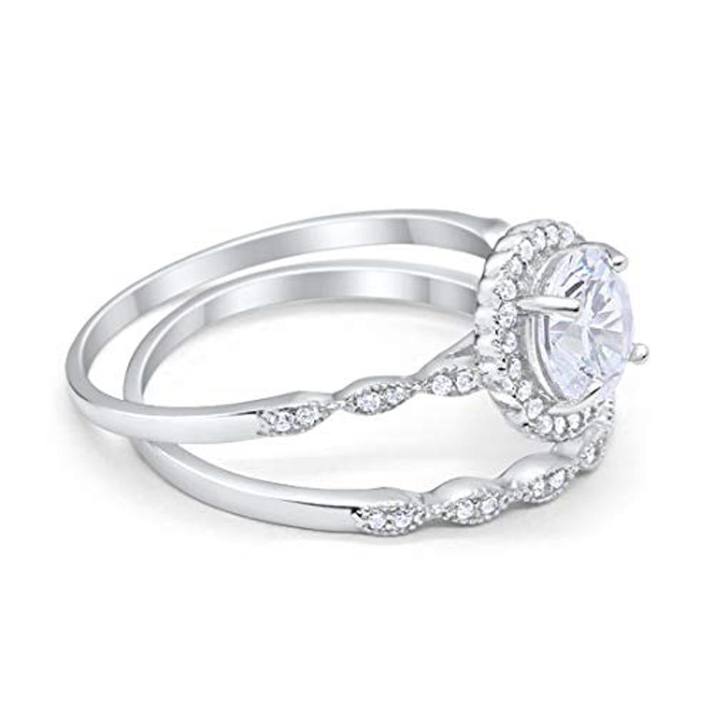 Two Piece Engagement Ring Round Simulated CZ 925 Sterling Silver
