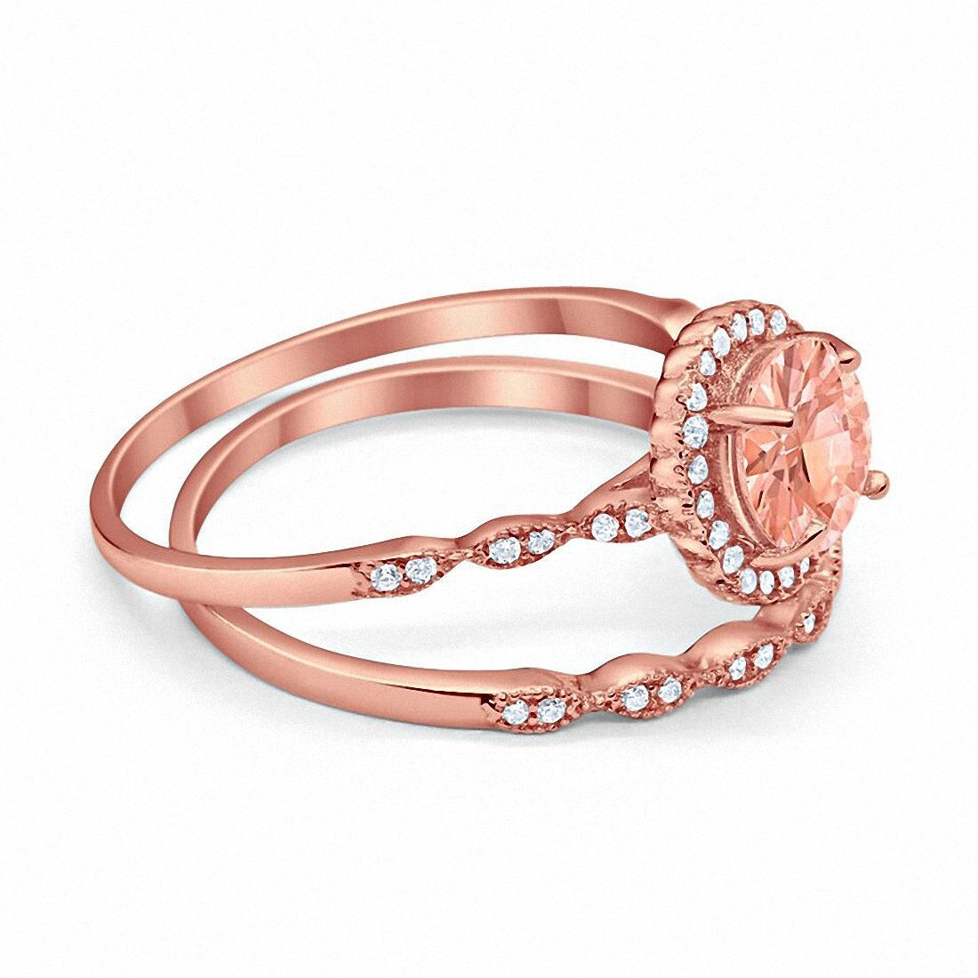 Two Piece Engagement Ring Rose Tone, Simulated Morganite CZ 925 Sterling Silver