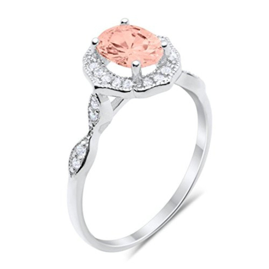 Art Deco Wedding Ring Oval Simulated Morganite CZ 925 Sterling Silver