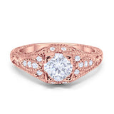 Vintage Design Solitaire Wedding Ring Rose Tone, Simulated CZ 925 Sterling Silver