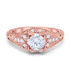 Vintage Design Solitaire Wedding Engagement Ring Rose Tone Round CZ 925 Sterling Silver