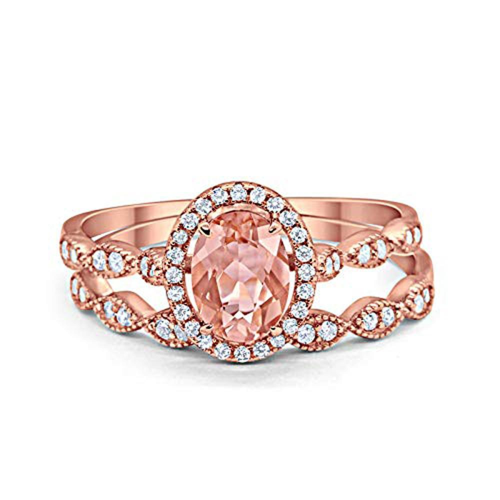 Halo Bridal Set Piece Oval Rose Tone, Simulated Morganite CZ Ring 925 Sterling Silver