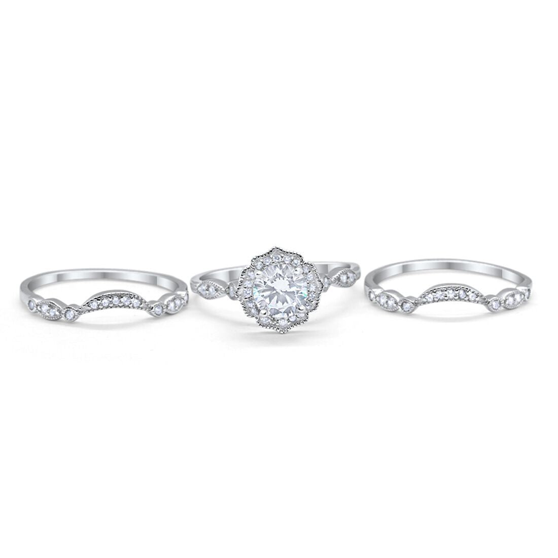 Three Piece Engagement Ring Band Simulated CZ 925 Sterling Silver