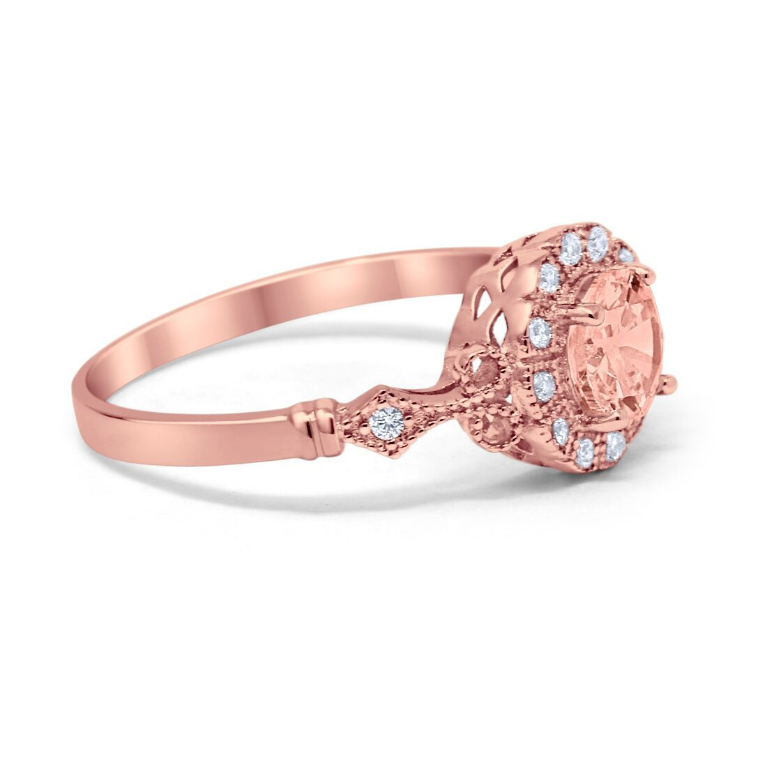 Halo Fancy Wedding Ring Round Rose Tone, Simulated Morganite CZ 925 Sterling Silver