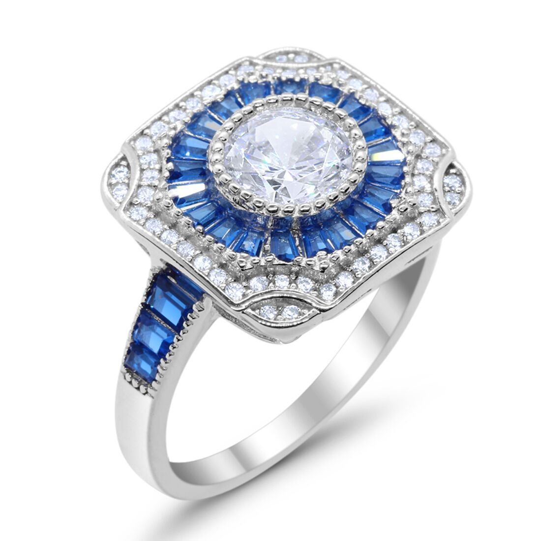 Antique Style Engagement Ring Baguette Simulated Blue Sapphire CZ 925 Sterling Silver
