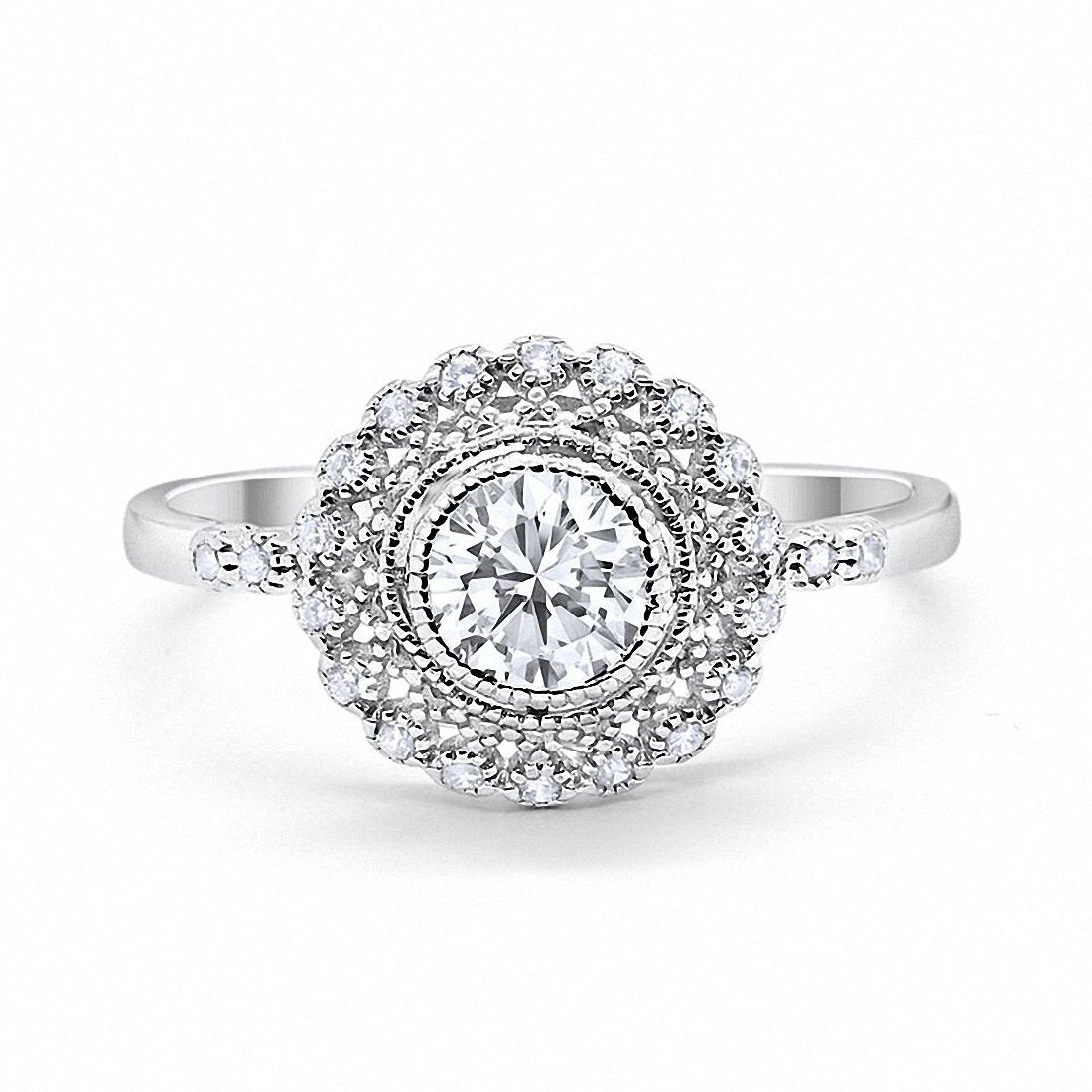 Halo Engagement Ring Bezel Round Simulated Cubic Zirconia 925 Sterling Silver