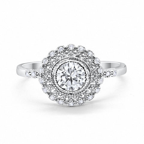 Halo Engagement Ring Bezel Art Deco Round Simulated Cubic Zirconia 925 Sterling Silver