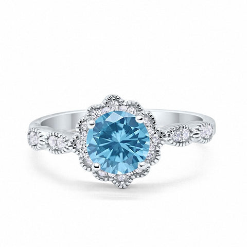 Floral Art Wedding Engagement Ring Round Simulated Aquamarine CZ 925 Sterling Silver