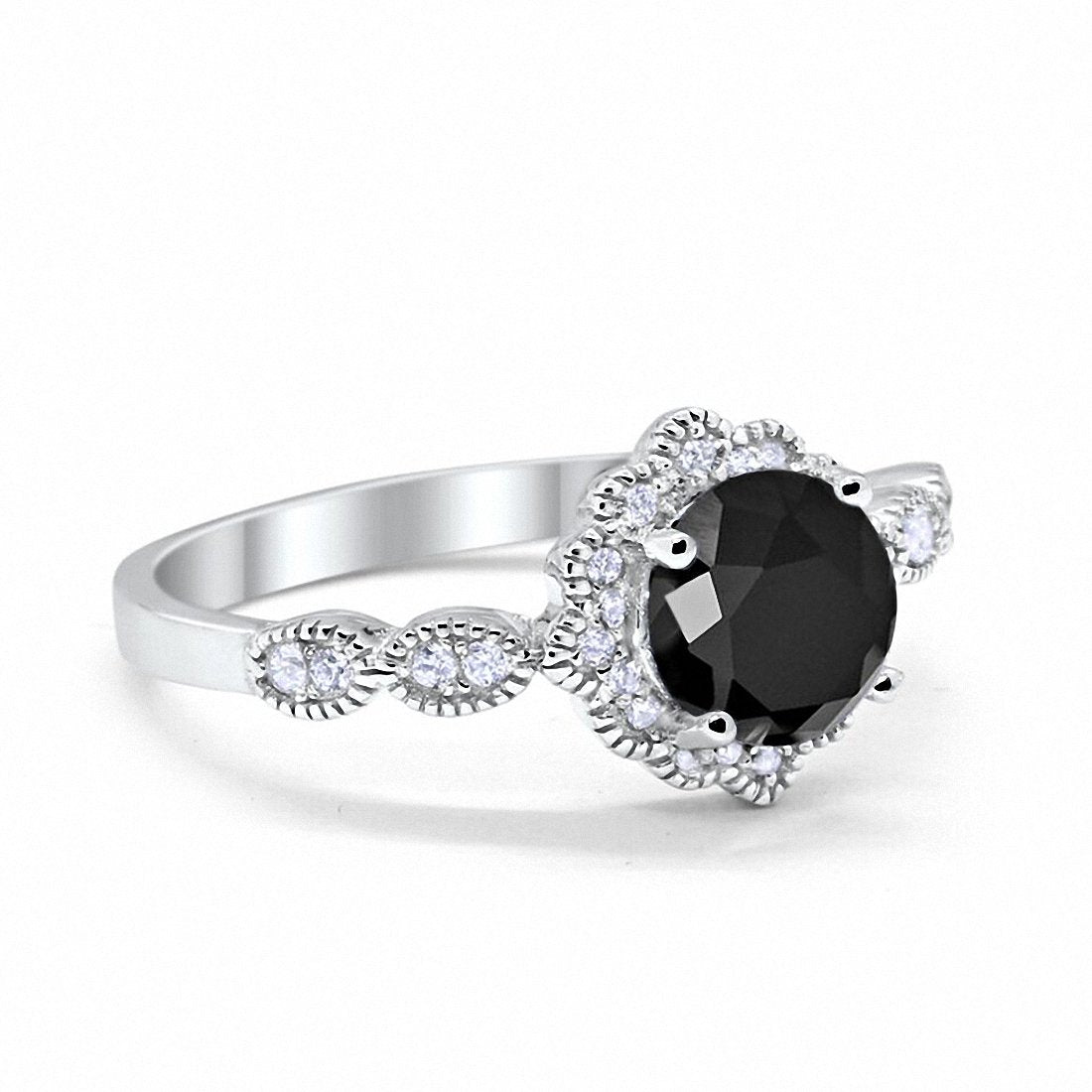 Floral Art Wedding Ring Simulated Black Cubic Zirconia 925 Sterling Silver