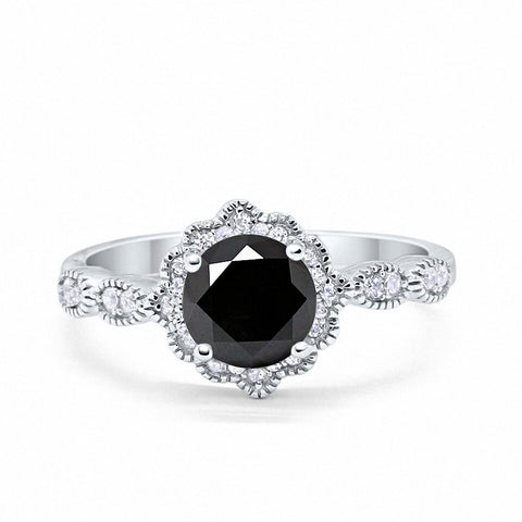 Floral Art Wedding Engagement Ring Round Simulated Black Cubic Zirconia 925 Sterling Silver