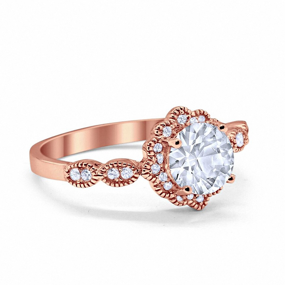 Floral Art Engagement Ring Round Rose Tone, Simulated CZ 925 Sterling Silver