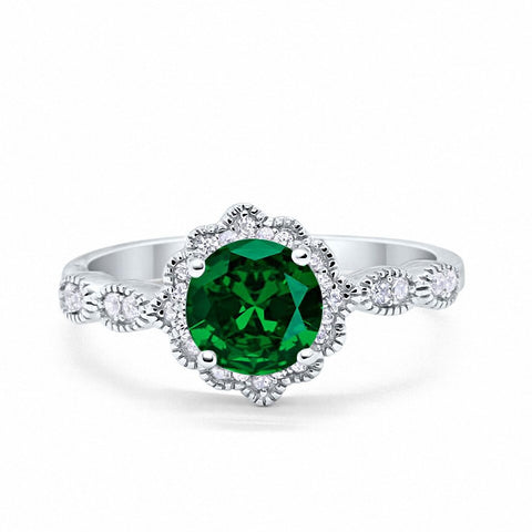 Floral Art Wedding Engagement Ring Round Simulated Green Emerald 925 Sterling Silver
