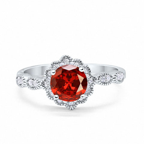 Floral Art Wedding Engagement Ring Round Simulated Garnet Cubic Zirconia 925 Sterling Silver