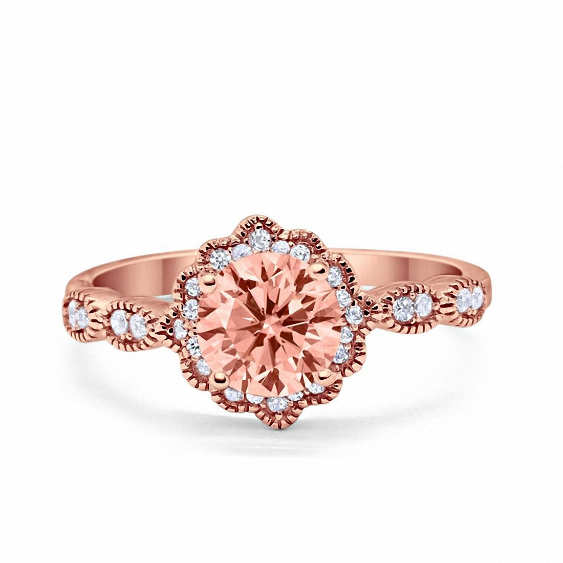 Floral Art Engagement Ring Round Rose Tone, Simulated Morganite CZ 925 Sterling Silver