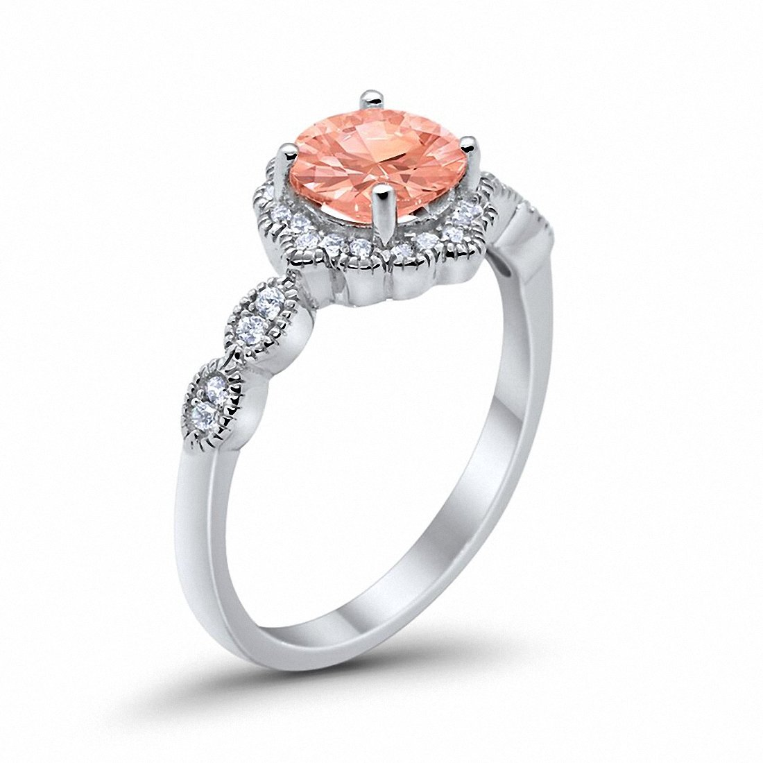 Floral Art Engagement Ring Simulated Morganite Cubic Zirconia 925 Sterling Silver