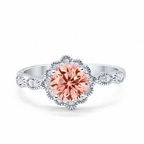 Floral Art Wedding Engagement Ring Round Simulated Morganite Cubic Zirconia 925 Sterling Silver