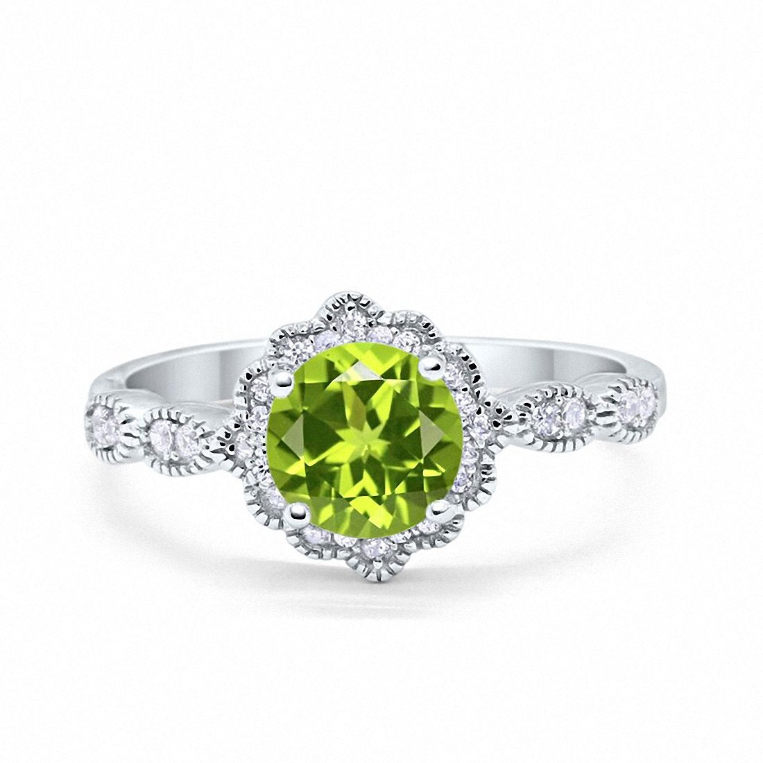 Floral Art Wedding Ring Simulated Peridot Cubic Zirconia 925 Sterling Silver