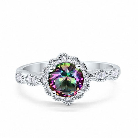 Floral Art Wedding Engagement Ring Round Simulated Rainbow CZ 925 Sterling Silver
