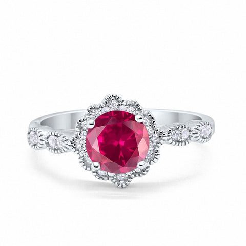 Floral Art Wedding Engagement Ring Round Simulated Ruby CZ 925 Sterling Silver