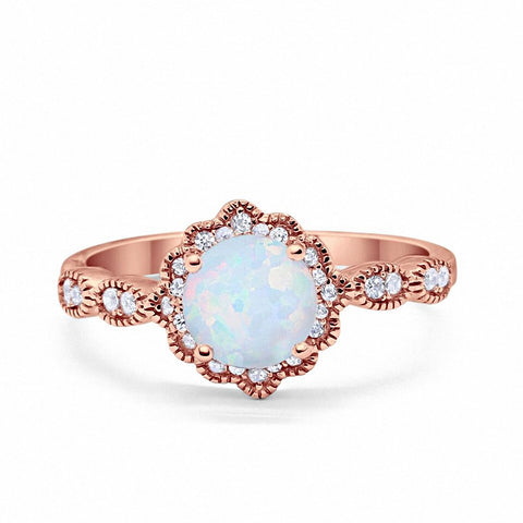 Floral Art Wedding Engagement Ring Round Simulated CZ Rose Tone Lab White Opal 925 Sterling Silver