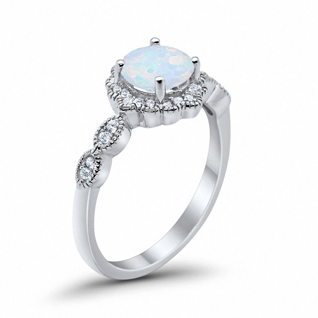 Floral Art Wedding Engagement Ring Lab Created White Opal 925 Sterling Silver