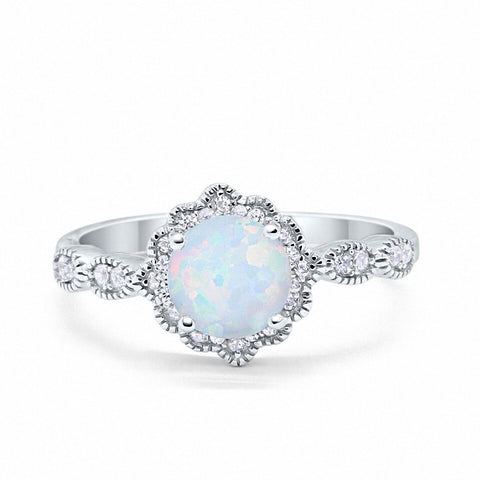 Floral Art Wedding Engagement Ring Lab Created White Opal Simulated CZ 925 Sterling Silver