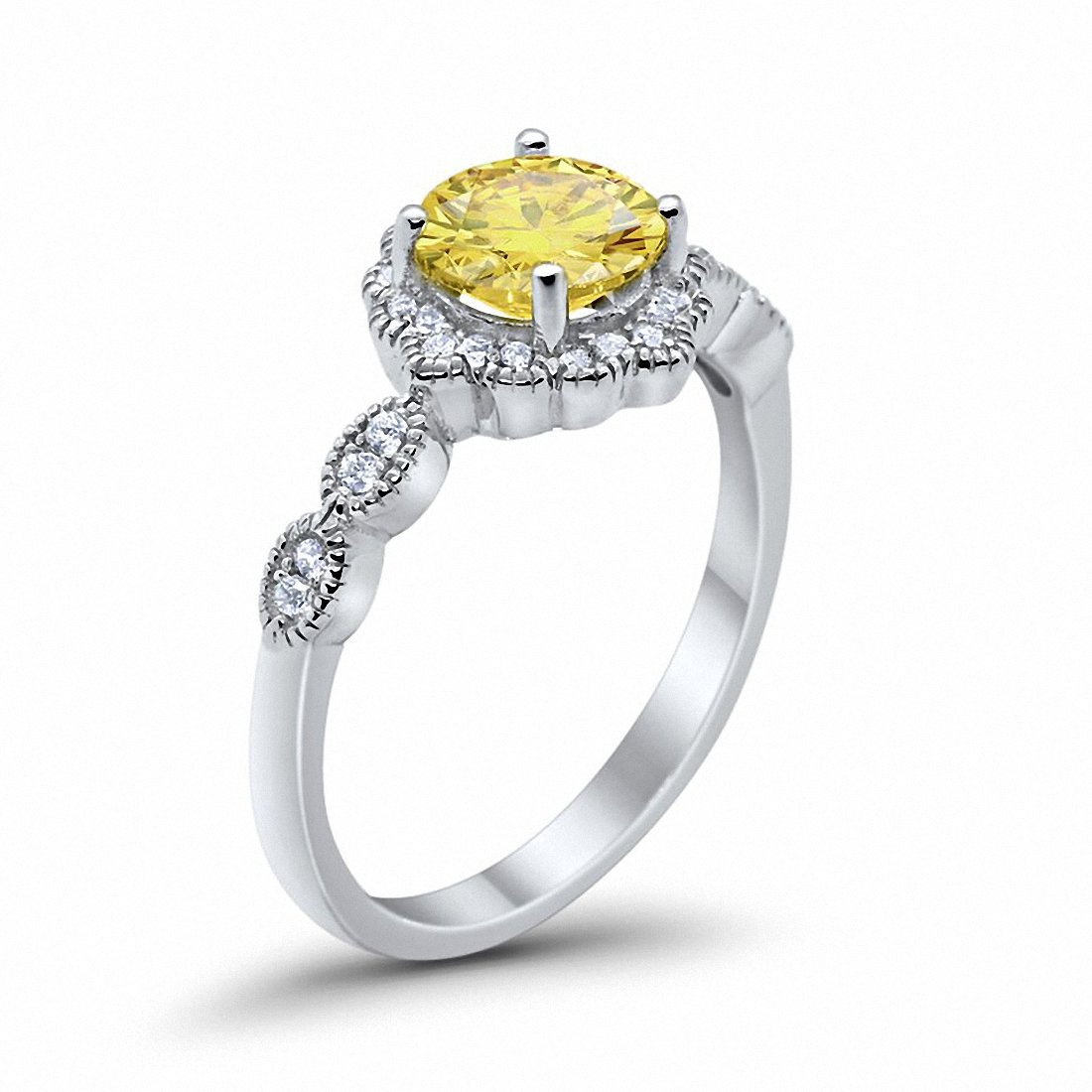 Floral Art Wedding Ring Simulated Yellow Cubic Zirconia 925 Sterling Silver