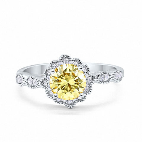 Floral Art Wedding Engagement Ring Round Simulated Yellow Cubic Zirconia 925 Sterling Silver