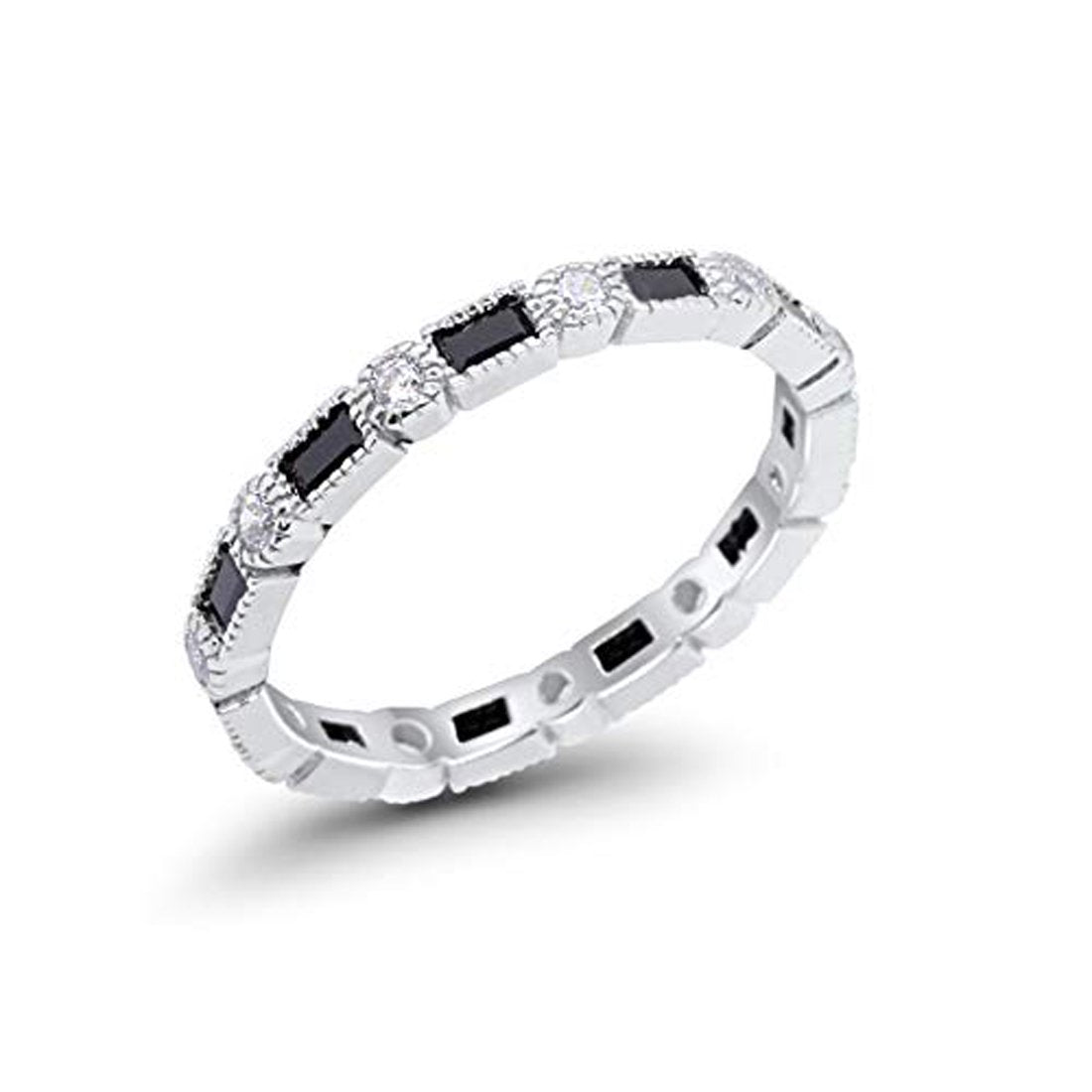 Full Eternity Wedding Band Simulated Black Cubic Zirconia 925 Sterling Silver