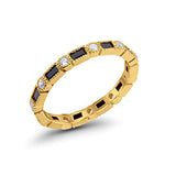 Full Eternity Wedding Band Yellow Tone, Simulated Black CZ 925 Sterling Silver
