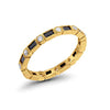 Full Eternity Wedding Band Yellow Tone Simulated Round Cubic Zirconia 925 Sterling Silver