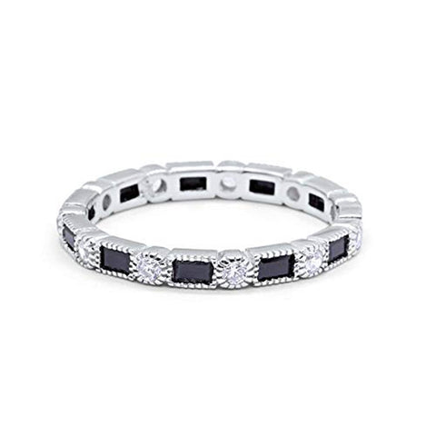 Full Eternity Wedding Band Simulated Black Round Cubic Zirconia 925 Sterling Silver