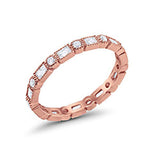 Full Eternity Wedding Band Rose Tone, Simulated Cubic Zirconia 925 Sterling Silver