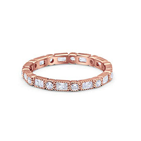 Full Eternity Wedding Band Rose Tone Simulated Clear Round Cubic Zirconia 925 Sterling Silver