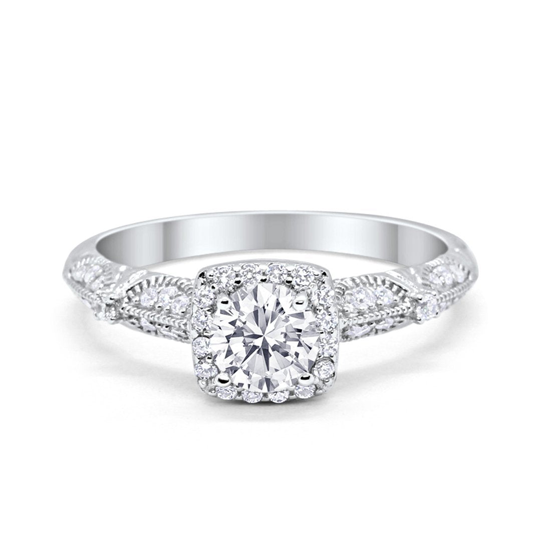 Halo Engagement Bridal Ring Simulated Cubic Zirconia  925 Sterling Silver