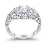 Halo Art Deco Simulated Cubic Zirconia Wedding Ring 925 Sterling Silver