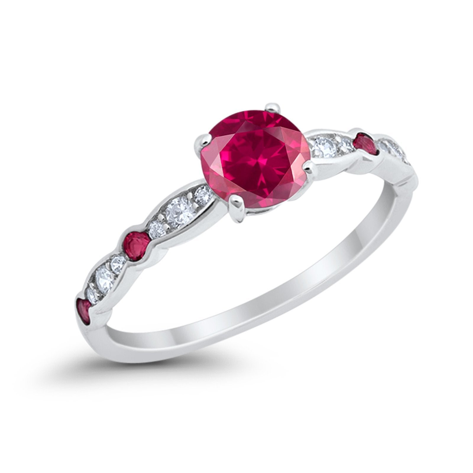 Art Deco Wedding Engagement Ring Round Simulated Ruby CZ 925 Sterling Silver