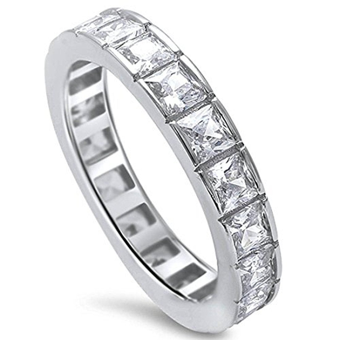 Full Eternity Stackable Band Ring Princess Cut Simulated CZ 925 Sterling Silver