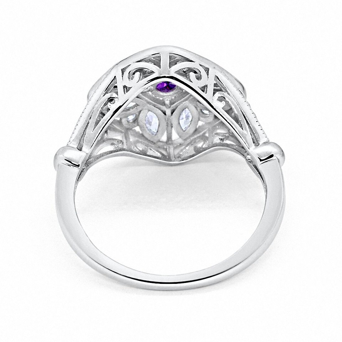 Art Deco Ring Marquise Filigree Simulated Amethsyt CZ 925 Sterling Silver