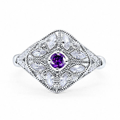 Art Deco Ring Marquise Filigree Simulated Round Amethsyt CZ 925 Sterling Silver