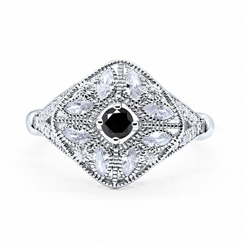 Art Deco Ring Marquise Filigree Simulated Round Black Topaz CZ 925 Sterling Silver