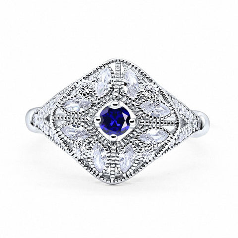 Art Deco Ring Marquise Filigree Simulated Round Blue Sapphire CZ 925 Sterling Silver
