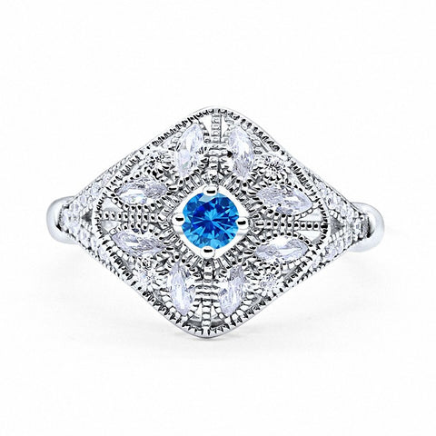 Art Deco Ring Marquise Filigree Simulated Round Blue Topaz CZ 925 Sterling Silver