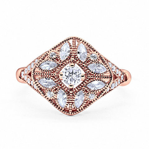 Art Deco Ring Marquise Filigree Simulated Round CZ Rose Tone 925 Sterling Silver