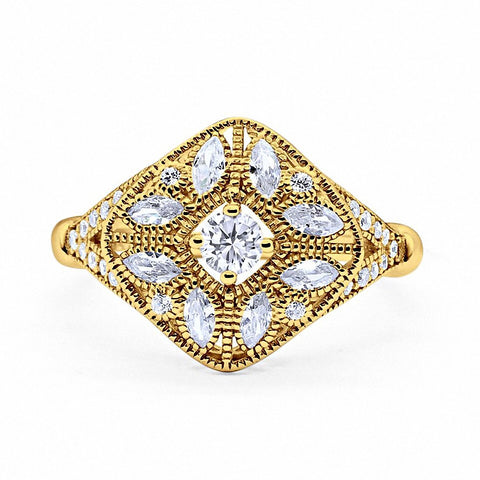Art Deco Ring Marquise Filigree Simulated Round CZ Yellow Tone 925 Sterling Silver