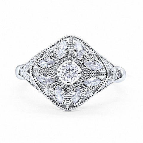 Art Deco Ring Marquise Filigree Round Cubic Zirconia 925 Sterling Silver