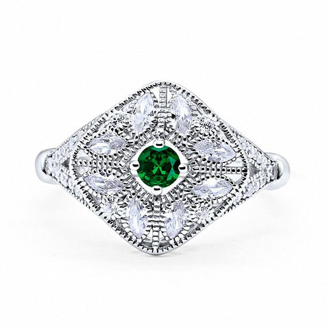 Art Deco Ring Marquise Filigree Simulated Round Green Emerald CZ 925 Sterling Silver