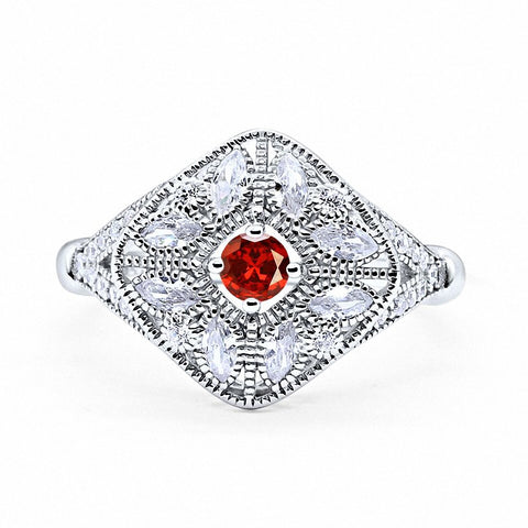 Art Deco Ring Marquise Filigree Simulated Round Garnet Cubic Zirconia 925 Sterling Silver