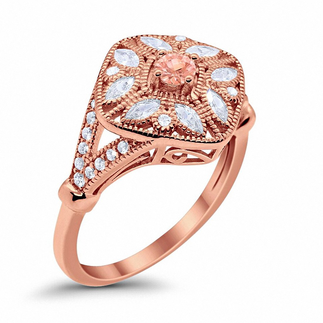 Art Deco Ring Marquise Filigree Rose Tone, Simulated Morganite CZ 925 Sterling Silver