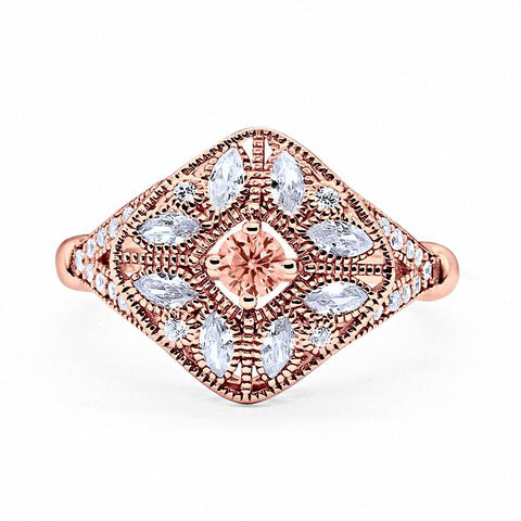 Art Deco Ring Marquise Filigree Simulated Morganite Round CZ Rose Tone 925 Sterling Silver
